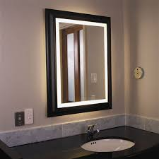 bathroom mirror lighting. Bathroom Decoration Using Rectangular Black Wood Framed Modern Mirror Lighting Including G
