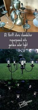 diy outdoor solar lamp i love this thrift chandelier into a patio or garden solar light by my life outdoor decor