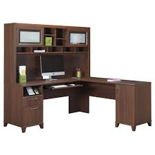 beautiful mainstays l shaped desk with hutch in brown plus computer set for home office furniture