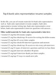 Sample Of Sales Resumes Top 8 Bank Sales Representative Resume Samples