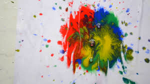 hd 1080 drops of paint of diffe red blue green yellow colors dripping on white paper flow fluid messy mix spilling multicolor color mix creativity