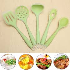 5 pcs silicone cooking utensil set heat resistant non stick gadget kitchen tools
