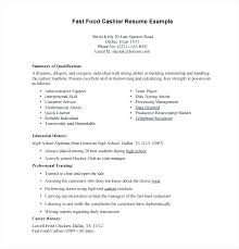 Fast Food Resume Skills Fast Food Cashier Resume Sample Fast Food
