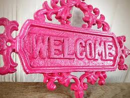 pink welcome girly hot pink floral ornate welcome sign vintage inspired spring