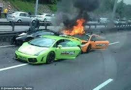 Dramatic Moment Three Lamborghini Supercars Worth Burst