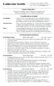 Sample Objective For Internship Resume Hotel Resume Objective