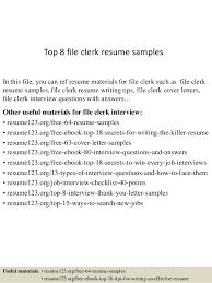 File Clerk Resume Sample
