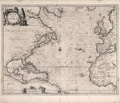 Vintage Nautical Charts Historical Nautical Chart Of Atlantic Ocean 17th Century