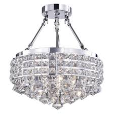 drum round shade chrome 4 light crystal semi flush mount regarding amazing home semi flush mount crystal chandelier remodel