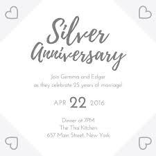 Silver 25th Wedding Anniversary Invitation Templates By Canva