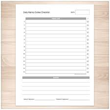 Nanny To Do List Template Daily Nanny Duties Checklist Sheet Printable Daily