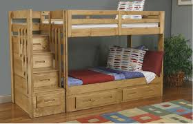minimalist wooden bunk beds with stairs plus drawers for saving blankets  and wooden floor for kids