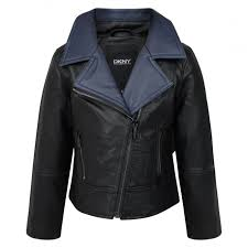 dkny girls black leather look biker jacket with blue collar