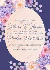 Wedding Invitation Pink Peach Peony Hydrangea Violet Anemone Eucalyptus Greenery Pdf Custom Online Editor 5x7