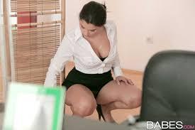 Chubby Secretary Valentina Nappi with Nice Feet Wearing Black.