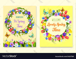 Spring Photo Cards Hello Spring Flower Frame For Greeting Card Design