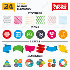 Banner Tags Stickers And Chart Graph Golf Ball Icons Laurel