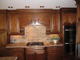 tumbled stone kitchen backsplash. Traditional Kitchen Design With Brown Subway Tumbled Stone Tile Backsplash, Teak Carving Decoration Cabinet Backsplash O