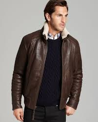 lyst marc new york norton aviator leather er jacket in brown