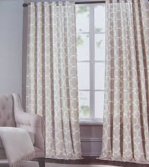 modern orange geometric curtain panels