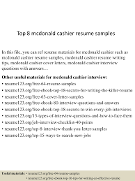 mcdonalds cashier resume sample cipanewsletter top8mcdonaldcashierresumesamples 150528084931 lva1 app6892 thumbnail 4 jpg cb u003d1432803026 from slideshare net