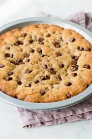 chocolate chip cookie cake in a pan