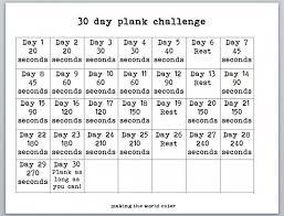 24 Day Challenge Chart 30 Day Plank Challenge Chart Plank Challenge Chart 30 Day