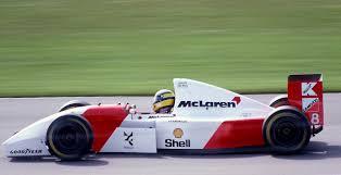 Ayrton Senna's winning Mclaren MP4/8, racing at Donington Park in ...