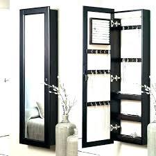 hanging jewelry cabinet wall black box mounted mirrored w