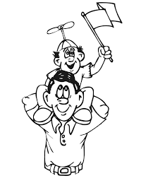 Small Picture Family Coloring Page Son on Dads Shoulders