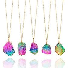 healing stone necklaces chakra necklace for women candy jewelry rainbow natural stone pendant necklace wire wrapped