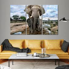 on safari canvas wall art with safari elephants multi panel canvas wall art elephantstock