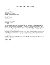 Cover Letter For Clerical Position In A Hospital Adriangatton Com