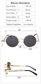 Classic Circular Frame Unisex Sunglasses Size Chart
