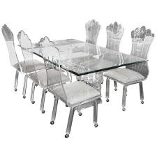 lucite dining table with six high back chairs on lucite dining table55