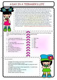 A Typical Day In A Teenagers Life English Esl Worksheets