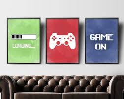 Image Furniture Ideas Video Game Wall Art Gaming Wall Art Set Of 3 Gaming Prints Set Gaming Room Decor Printable Wall Art Video Game Party Video Game Poster Etsy Video Game Decor Etsy