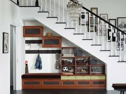Furniture:Beauty Storage Under Stair Design With Plaid Brown Wood Storage  Added Antique Modern Crystal