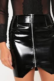 sk017b pvc skirt with chrome zip 4