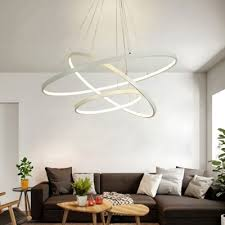 contemporary aluminum halo led chandelier led warm white light 1 tier 5 tier multi light