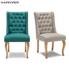 ikayaa us uk fr stock antique tufted dining chair linen fabric accent chair upholstered side living