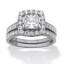 3 3 Carat T G W Cz 14kt Gold Plated Wedding Ring Set Walmart Com