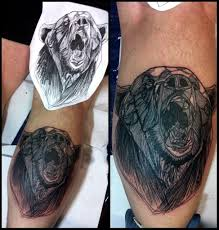 тату медведь в стиле графика лайнворк My Tattoo Works тату