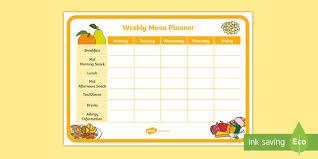 Childminder Weekly Menu Planner Childminder Menu Planner