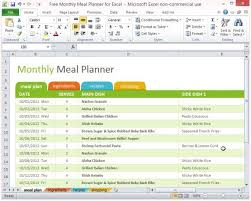 Meal Planning Spreadsheet Excel Free Monthly Meal Planner For Excel 1 Meal Planner