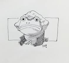 frog paper vertebrate cartoon drawing black and white sketch