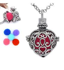 antique silver heart shaped locket pendant essential oil aromatherapy diffuser necklace 5 pompons co126668s61