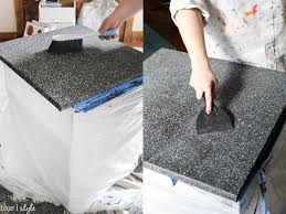 if you like grey granite finishes like we do then take a look at this tutorial for faux granite countertops from pearls and sports bras ah mazing