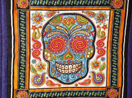 Sugar Skull Quilt, Mexican Quilt, Day of the Dead Decor, Mexican ... & Sugar Skull Quilt, Mexican Quilt, Day of the Dead Decor, Mexican Folk Art Adamdwight.com