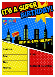 superheroes party invites kids party invitations encore kids parties